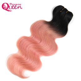 Wholesale Rose Hair Extensions - Rose Gold Color Ombre Brazilian Body Wave Ombre Human Hair Extensions Weave Bundles Non Remy Hair Dreaming Queen