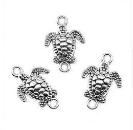 200 unids / lote Aleación de plata antigua encantos de tortugas marinas componentes colgantes para diy joyería que hace los resultados 21x14.5mm desde fabricantes