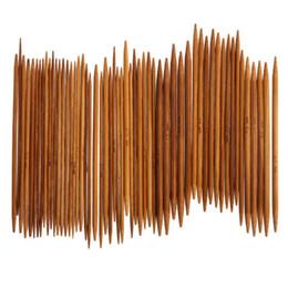 Tricô bambu conjunto on-line-55 Pcs 11 tamanhos de Bambu Carbonizado Agulhas De Tricô Agulhas de Crochê Dupla Ponta Set Mão Tricô Ferramentas Agulhas Artesanato