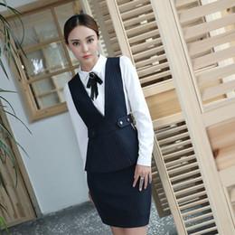 Wholesale Buttons Restaurant - Women Vest Business Office Work Waiter Wear 2 piece Sets Hotel room service restaurant reception waitress uniform suits