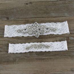 Wholesale Vintage Wedding Garter Sets - 38cm 44cm White Lace Vintage Bridal Garter Crystals Bridal Accessories Appliques Sexy Lace Garter 1 Set Wedding Garters