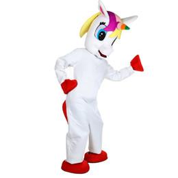 Trajes de personagens on-line-Unicórnio Traje Da Mascote Adorável Branco Voando Cavalo Cospaly animal Dos Desenhos Animados Caráter adulto traje do partido do Dia Das Bruxas Carnaval Traje