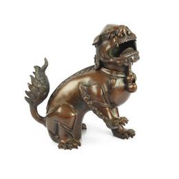 Estátua do leão chinês, antigo Bronze auspicioso leão estátuas e esculturas Home Decor para atrair sucesso, Seiko bronze artesanato leão de