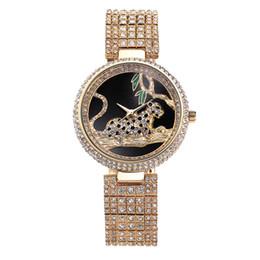 Wholesale Women Rhinestone Waterproof Watch - Luxury Watch Women Rhinestone Waterproof Bu Relogio Feminino Dourado Leopard Stainless Steel Full Diamond Horloge Dames