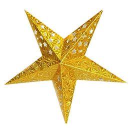 Горячие продажи мода Рождество декор пентаграмма абажур Звезда бумага фонарь висит свадебные аксессуары золото от