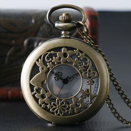 Wholesale Alice Wonderland Vintage - Retro Bronze Quartz Antique Pocket Watch Woman Alice In Wonderland Rabbit Pattern Vintage Fob Watches Pendant For Female Children
