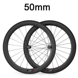 Wholesale tubular race wheels - 700C 50mm Clincher Tubular 23mm Width 3K Carbon Wheels Road Bike Bicycle Wheel Racing Touring Wheelset