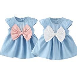 Wholesale Infant Girl Denim Dresses - 2 colors hot Korean styles New Arrivals baby girl short sleeve dress o-enck back with bow denim infant girl dress