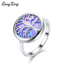 Wholesale fire stones - whole saleRongXing New Big Round Stone Blue Fire Opal Life Tree Rings For Women Men 925 Sterling Silver Filled Lovers Wedding Bands RS0225