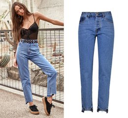 Wholesale Open Leg Pants - Girl Blue Loose Jeans Woman Boyfriend Denim Pants Designer High Waist Straight Jeans Irregular Opening Leg Female Casual Trousers XXS-XXL SZ
