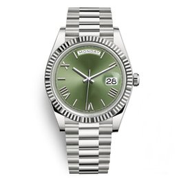Wholesale round face watches - Day Date Luxury President Watches Men Day-Date Sapphire Cystal Geneva Automatic Mechanical Wrist Watch Silver Green Roma Face Wristwatch