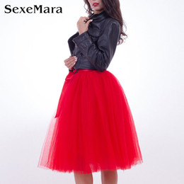 Wholesale Womens Tutu Skirt White - Wholesale- 2017 6 Layers 65cm Midi Tulle Skirt Adult High Waist Mesh Tutu Skirts Womens Petticoat Elastic Belt Vintage Lolita faldas saias