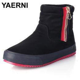 Wholesale korean women boots shoes - YAERNI 2017 New Winter Korean Style coon cloth Ankle Boots Women Side Zipper Snow Boots Woman Warm Non-slip Shoes