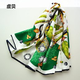 ladies silk christmas scarves Promo Codes - White and green women scarves big size silk twill scarf square shawl ladies neckerchief female bandana 90cm*90cm christmas gift