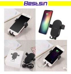 Wholesale Car Holder For Blackberry - T8 For iphone X Gravity Car Mount Qi Fast Wireless Charger Phone Holder Air Vent Holder Wireless Car Charger For Samsung S7 S8