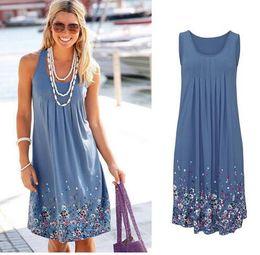 Wholesale wholesale bell sleeve dress - free shipping Summer Dress 2018 Women's Clothing Floral Print Cotton Sleeveless Short Beach Dress Sundress Casual Loose Shift Dresses Vestid