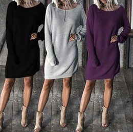 Wholesale batwing sleeve knit - Women Long Batwing Sleeve Round Neck Solid Loose Sweater Dress Pullover Tops Loose Knitted Dress OOA4501