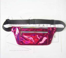 Wholesale Thin Laser - 50pcs 2018 Light And Thin Style Laser Waist Bags Women metallic silver Fanny chest pack sparkle festival hologram purse travel bag 6colors