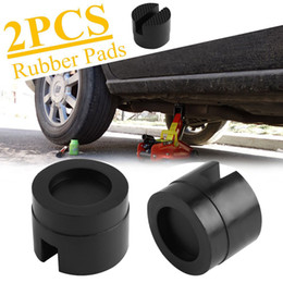 Wholesale Slot Cars Set - 2PCS SET Car Rubber Pad Hydraulic Black Jack Disk Slotted Frame Rail Floor Car Jacks Tool
