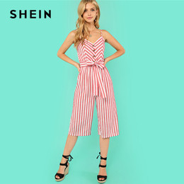 f3aa206dcfc SHEIN Button Accent Wide Leg Belted Cami Jumpsuit Multicolor Spaghetti  Strap Sleeveless Jumpsuit Women Summer Vacation