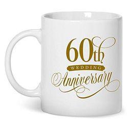 Fare tazze online-60 ° anniversario di matrimonio, regali di diamanti, regali anniversario di matrimonio Tazza da caffè da 11 once Tazza di ceramica bianca è l'idea regalo perfetta