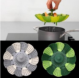 Wholesale Steamer Cook - Folding Lotus Steamer Basket Silicone Folding Non-scratch Food Cooking Steamer Fruit Vegetable Basket Steaming Food Vegetable Tools 100Pcs