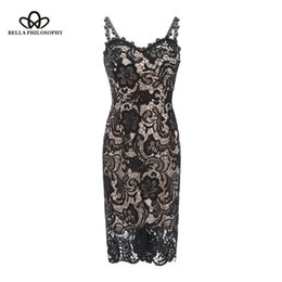 bella dresses Coupons - Bella Philosophy 2018 woman spring sexy embroidery spaghetti strap lace dress high line strapless sheath dress knee length