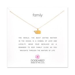 Wholesale Silver Family Necklace - Dogeared Choker Necklaces With Card Gold Silver Whale Pendant Necklace For Fashion Women Jewelry FAMILY Gift