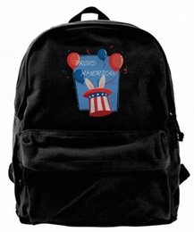 bunny backpacks Coupons - Proud American Pride Red White Blue Bunny Fashion Canvas Best Backpack Unique Camper Backpack For Men & Women Teens College Travel Daypack