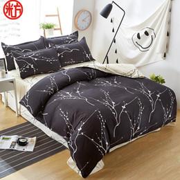 Juegos de cama de chocolate online-Nueva ropa de cama de diseño clásico fijó 3 tamaño de la cubierta gris azul ropa de cama de flores 4pcs / set de edredón juego de tapas AB lado edredón sábana Pastoral