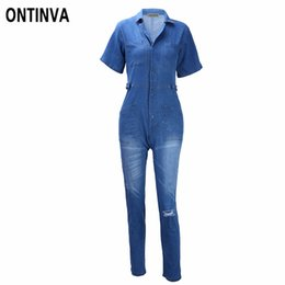 Wholesale Ladies Plus Size Overalls - Blue Denim Jumpsuits for Women Short Sleeve Ripped Jean Overalls Plus Size XXL 3XL Office Ladies Work Wear Clothing Rompers