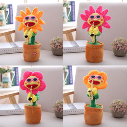 Wholesale Play Dance - Sexy Musical Plush Flower Dancing Singing Sunflower Playing Saxophone Song 34cm Flashing Face Stuffed Plant Big Red Mouth Rotated Plush Toy