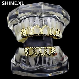 Canada New Gold Silver Creux Ouvert Dlampnd Cut 6 Dents Haut Bas Grills Dents Caps Hip Hop GRILLZ Ensemble Bijoux Partie Offre