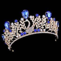 Corona azul real online-Royal Blue Crystal barroca del pavo real del Rhinestone del oro hojea corona nupcial de la boda Tiara novia diadema desfile de pelo Accesorios Celada