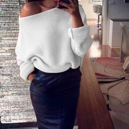 дамы от плеча свитера Скидка Мода с плеча женщины свитера 2018 дамы перемычка Слэш шеи длинным рукавом пуловер свободные повседневная трикотаж FS5743