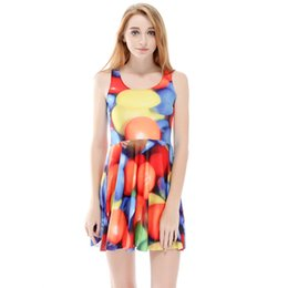 fe7a8150410 NEW 1137 Plus size Summer Women Dress Cute M Rainbow Candy Sweet 3D Prints  Reversible Vest Skater Sexy Girl Pleated Dress