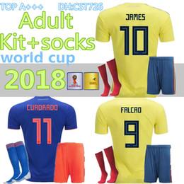 2019 kolumbien gesetzt Erwachsene 2018 World Cup Kolumbien Fußball setzt Rodriguez James Falcao Cuadrado TEO BACCA SANCHEZ Heim Auswärts Kit + Socken Jersey Football Uniform günstig kolumbien gesetzt