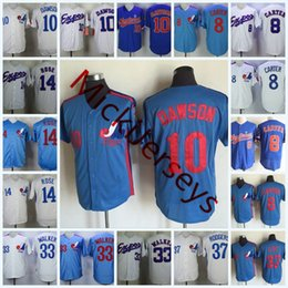 Wholesale bill white baseball - Mens Montreal Expos Pete Rose Jerseys Stitched 8 GARY CARTER #10 ANDRE DAWSON 33 LARRY WALKER #37 Bill Lee Montreal Expos Jersey S-3XL