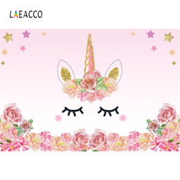 Wholesale paint photo backdrop - Laeacco Cartoon Unicorn Flower Birthday Baby Newborn Photography Backgrounds Customized Photographic Backdrops For Photo Studio