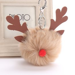 подарки для кроликов rex Скидка Xmas Elk Fur Ball Keychain Fluffy Rex  Pom Pom Keychain Holder Women Bag Keyring Charms Pendant Christmas Gift
