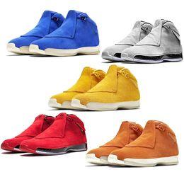2020 calçados tamanho 18 homens Homens 18 18 s Sapatos de Basquete Vermelho Toro Camurça Amarelo Laranja Azul Real Fresco Cinza OG Mens Esporte Trainer Tênis Esportivos Tamanho 41-47 atacado calçados tamanho 18 homens barato