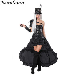 2020 cinghie steampunk Beonlema Overbust Bustier Leather Steampunk Corsetto Black Arm Shaper Punk Rave Belt Rivetto Korse Dress Cosplay Abbigliamento Gonna lunga cinghie steampunk economici