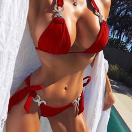 traje de bikini pequeño caliente Rebajas Sexy Bikini brasileño para mujer de lujo de cristal mujeres vendaje pequeño sujetador traje de baño Mujer Mayo Halter tanga traje de baño ropa de playa productos calientes