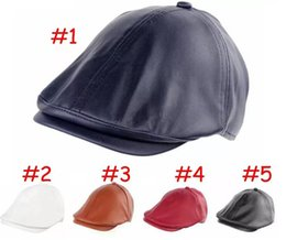 Wholesale gatsby newsboy hats - Newborn Kids pu leahter hats cps Cool Cabbie Newsboy Gatsby Hat children Beret Cap 5colors choose free ship B11