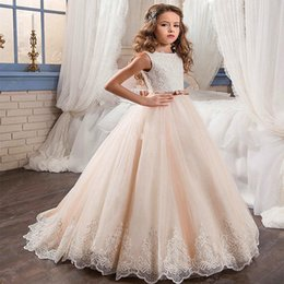 Wholesale girls christmas vest - 2018 Mermaid Flower Girls Dresses Scoop Long sleeve Zipper Sequined 3D-Floral Applique Tulle Tiered Skirts Kids Gown