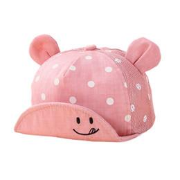 Wholesale little boys hats caps - Kids Newborn Toddler Baby Summer Breathable Caps Girl Boy Snapback Cap Dots Little Ear Hats New