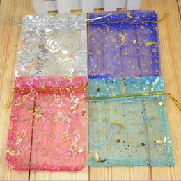 Wholesale Satin Bags For Jewelry - Hot Selling Organza Jewelry Gift Pouch Bags with Drawstring Wholesale Mix Colors Printed Satin Package for Candy Necklace Earrings Bags