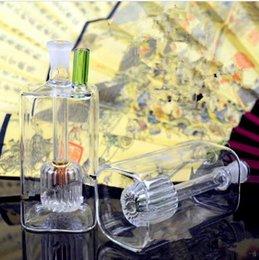 Мини-квадратные стеклянные бутылки онлайн-Мини-квадратная фильтрующая бутылка для воды Оптовая стеклянные бонги масляная горелка стеклянные трубы для воды нефтяные вышки для некурящих