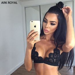 Wholesale Woman See Through Bras - Lace Bralette Transparent Bralet Sexy Crop Top Bra Unpadded Wireless Brassiere See Through Seamless Intimates Camis For Women