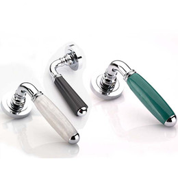Wholesale Door Handles Levers - Modern fashion Mechanical mute split indoor wooden door lock silver black Emerald Suet jade bedroom bookroom door handle lock